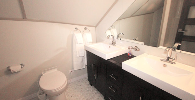 bathroom showing toilet, shower, sink and mirror