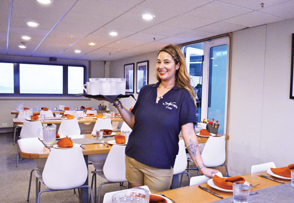 A nautilus hostess in the dining room
